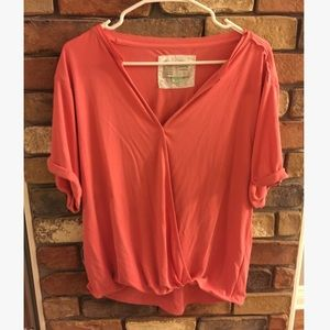 Anthropolgie Saturday/Sunday Drape Front Coral Top